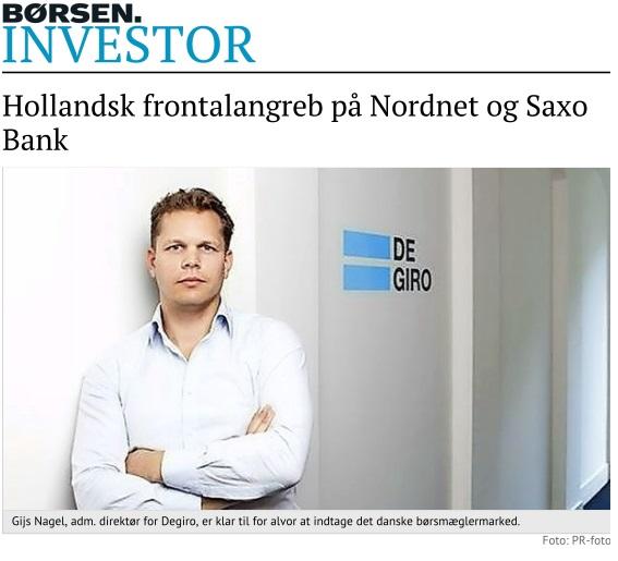 Degiro i Børsen med billede af Degiro administrerende direktør Gijs Nagel.