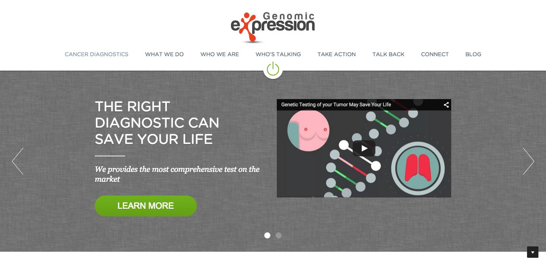 Billede af Genomic Expressions hjemmeside, som Frontpage producerede for dem.