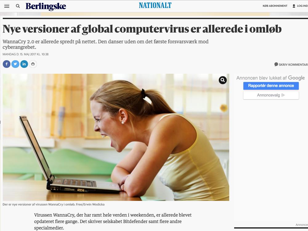 """Bitdefender artikel i Berlingske med overskriften """"Nye versioner af global computervirus er allerede i omløb."""""""