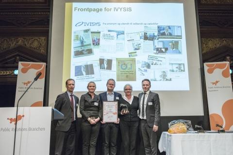 Billede fra da Frontpage vandt PR Tigeren i kategorien Bedste Strategi, for arbejdet med børsnoteringen af IVISYS.