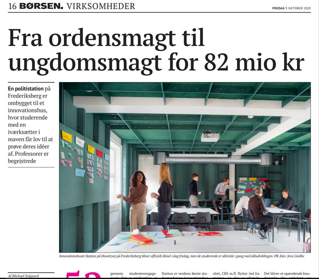Artikel i Børsen om Bertelsen & Scheving Arkitekters arbejde med at ombygge en gammel politistation til et innovationshus for unge iværksættere.