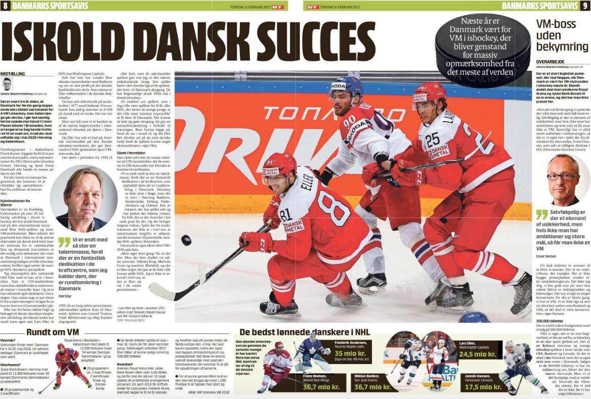 Artikel i BT om VM i Ishockey 2018 og det danske landshold.