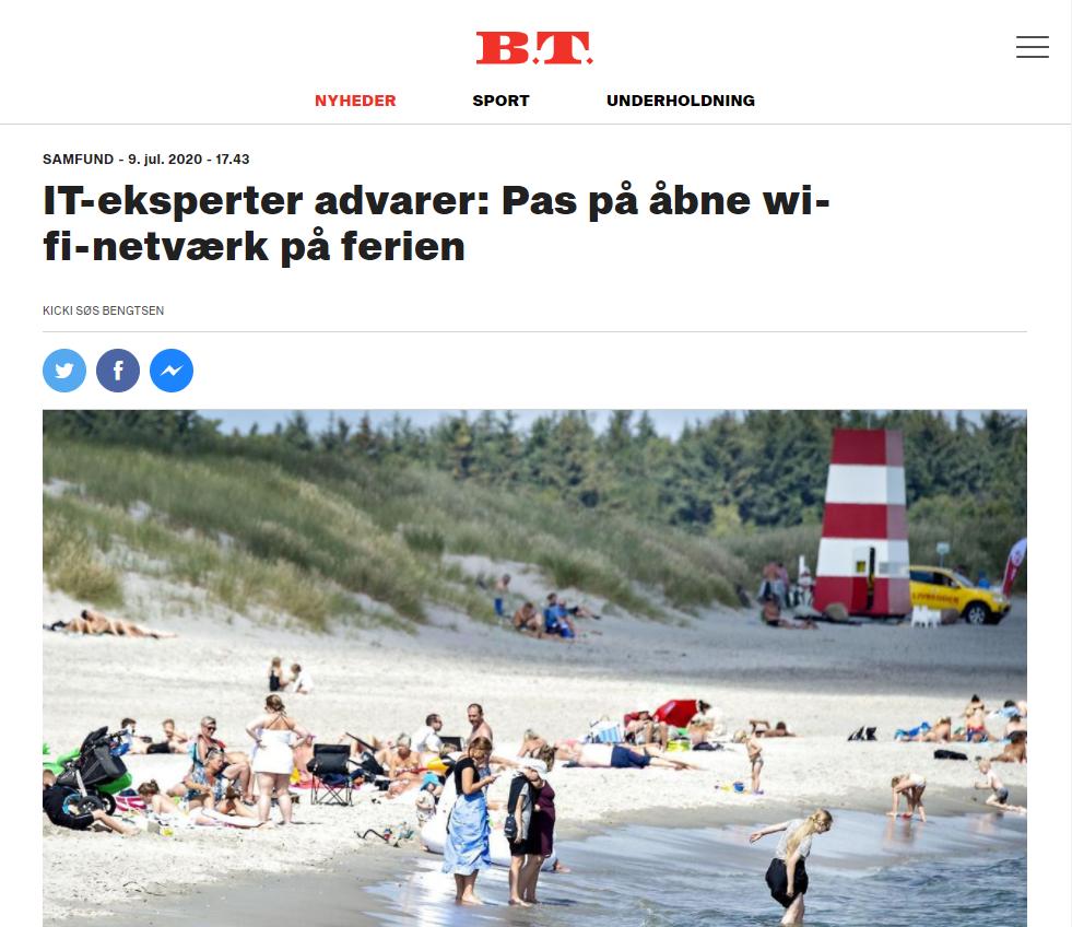 "Bitdefender artikel i BT med overskriften ""IT-eksperter advarer: Pas på åbne wifi-netværk i ferien."""