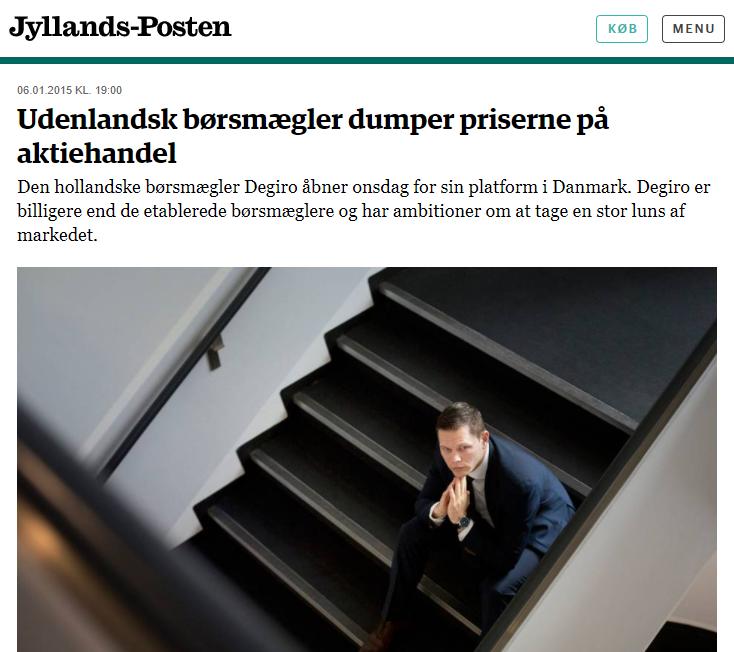 "Degiro artikel i Jyllands-Posten med overskriften ""Udenlandsk børsmægler dumper priserne på aktiehandel."""