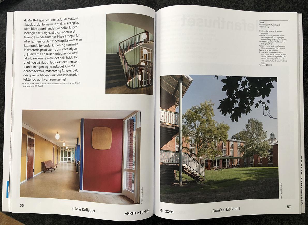 Billeder i Arkitekten fra 4. maj kollegiet, som Bertelsen & Scheving Arkitekter stod for at renovere.